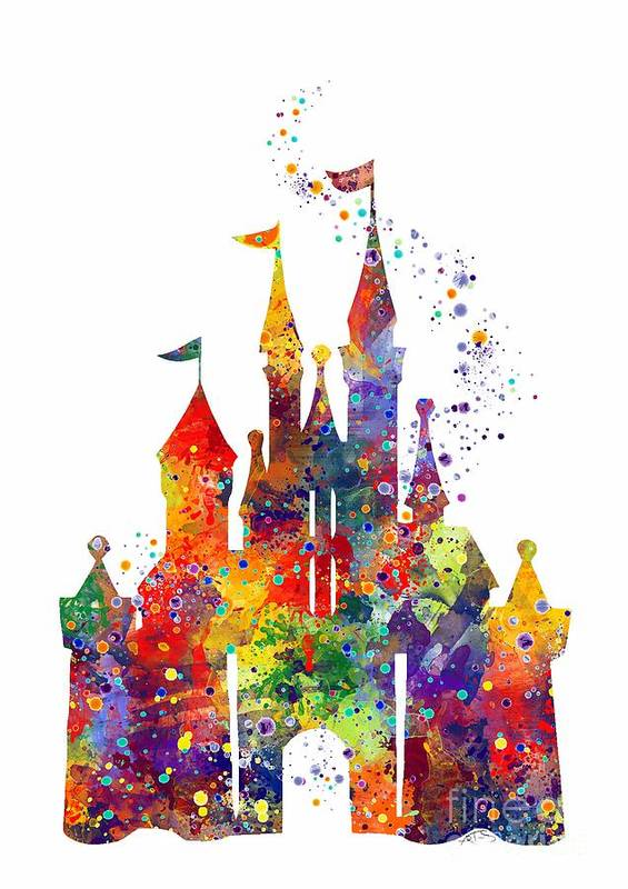 Disney Castle 6 Watercolor Print Art Print By Svetla Tancheva