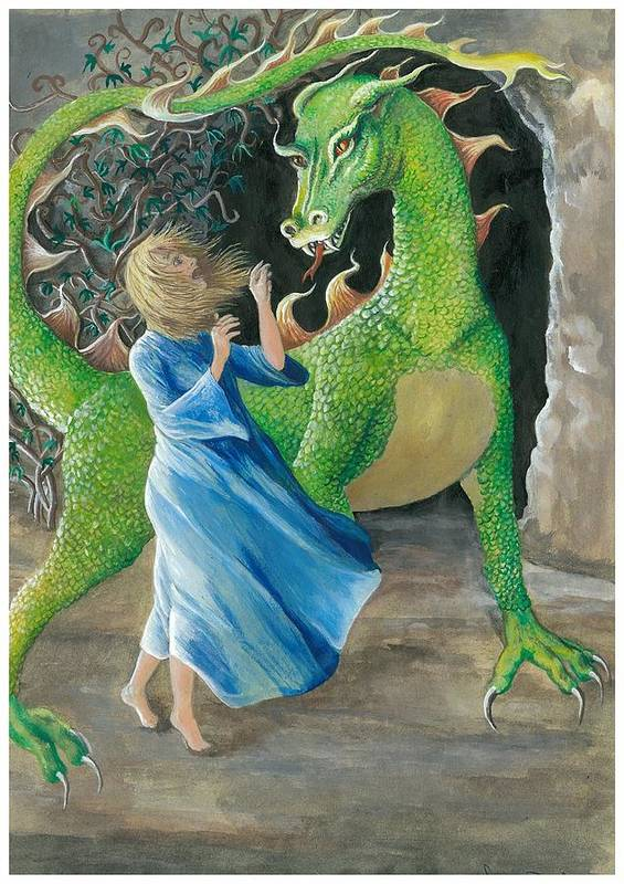 Dragon Art Print featuring the painting Dragon Princess 2 by Sally Balfany