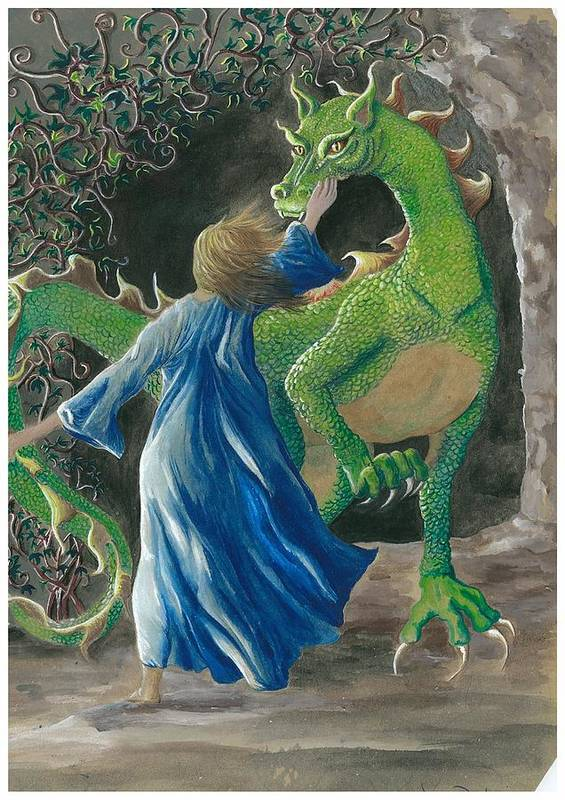 Dragon Art Print featuring the painting Dragon Princess 3 by Sally Balfany