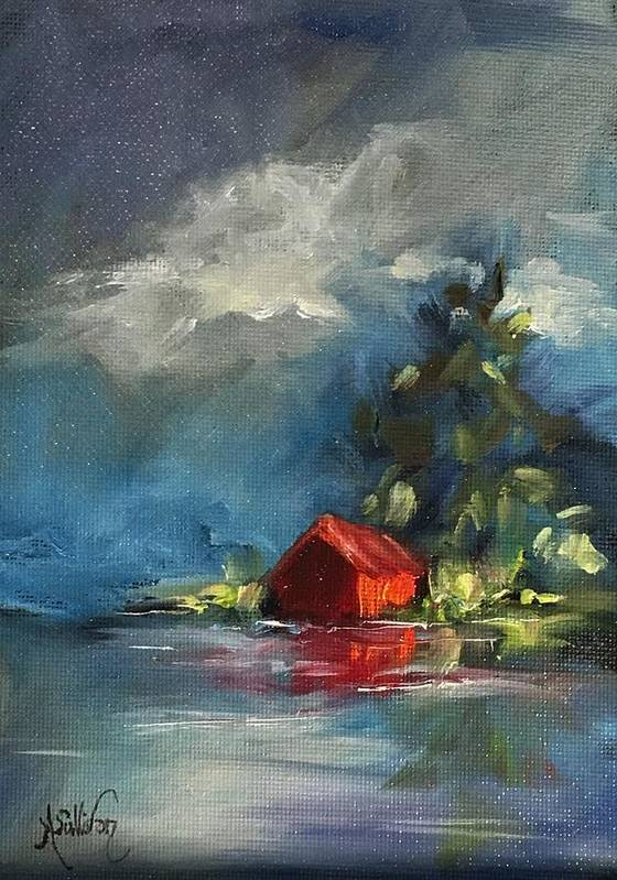 Barn Art Print featuring the painting Dreams Realy Do Come True by Angela Sullivan