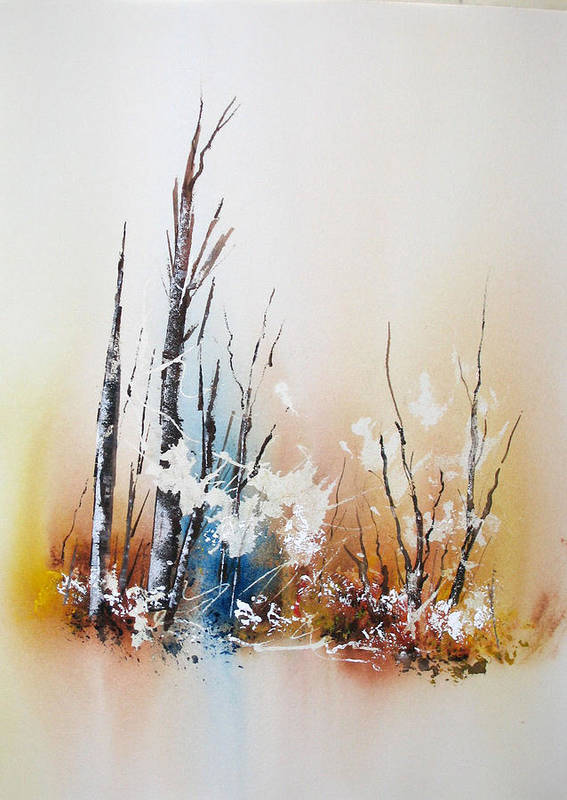 Snowy Scene Art Print featuring the painting Early Winter by Lynne Parker