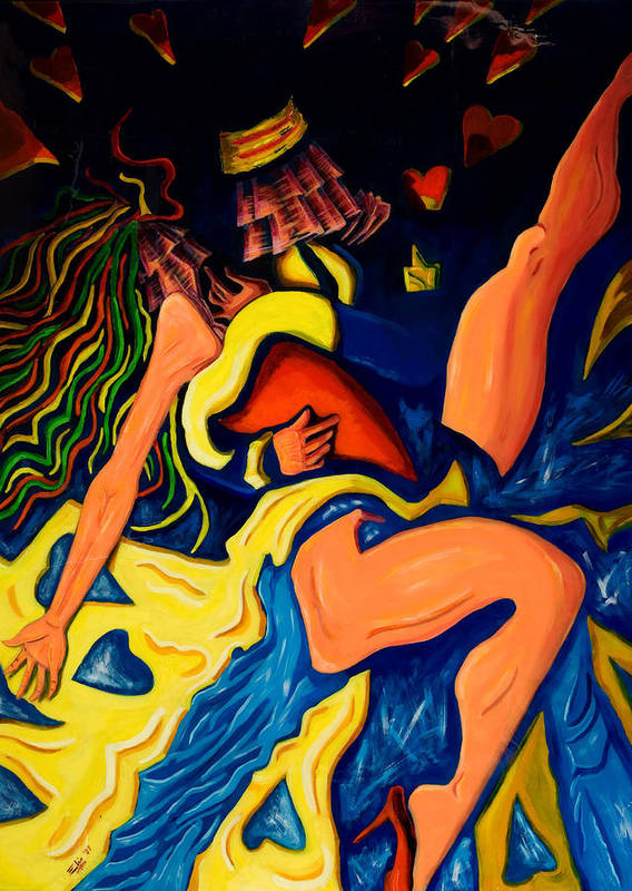 Figurative Art Print featuring the painting El Abrazo 1 by Elio Lopez