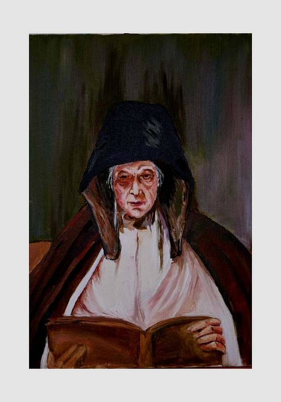 Old Lady Art Print featuring the painting Elderly Lady Reading A Book by Asha Sudhaker Shenoy