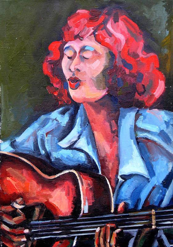 Blues Musician Art Print featuring the painting Eleanor Ellis - Diving Duck Blues by Jackie Merritt