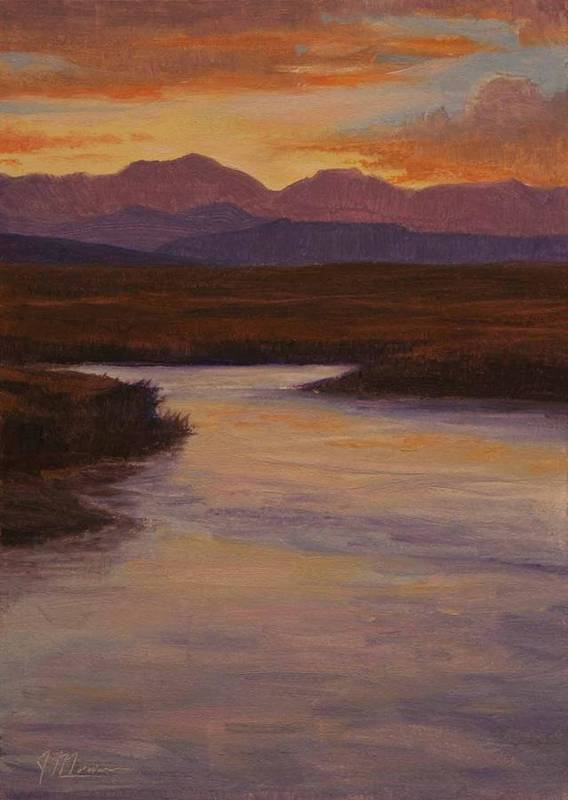 Landscape High Sierras Art Print featuring the painting Evening Calm by Joe Mancuso