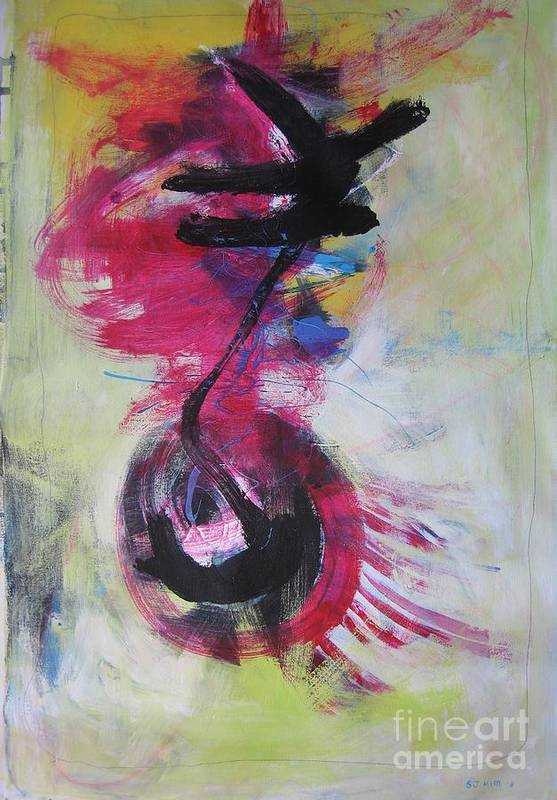 Abstract Paintings Red Paintings Art Print featuring the painting Everything A Mistake-abstract Red Painting by Seon-Jeong Kim