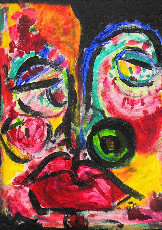 Face Art Print featuring the painting Faces II by Joyce Goldin