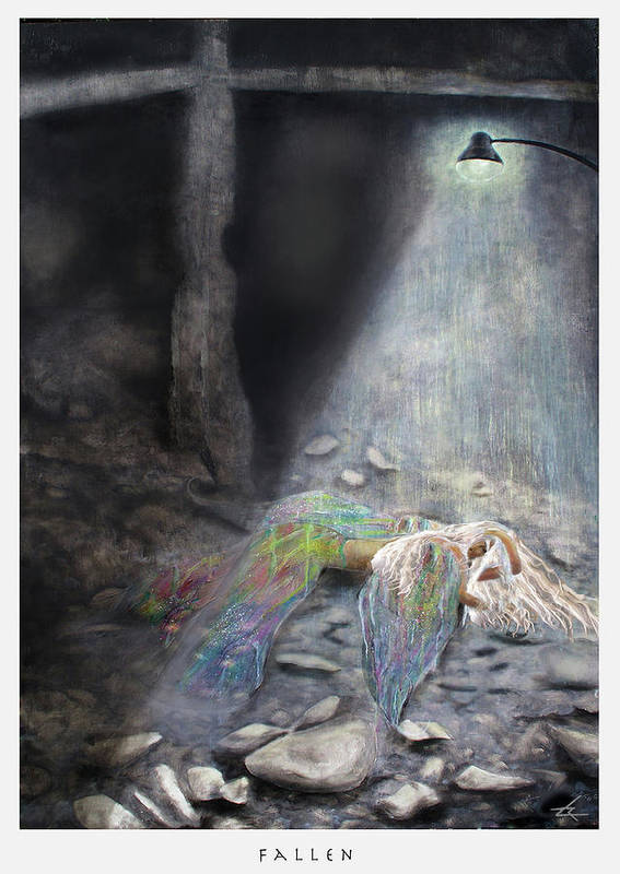 Angel Art Print featuring the painting Fallen by Larry Rice
