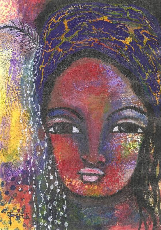 Woman Painting Art Print featuring the mixed media Feather In My Cap by Prerna Poojara