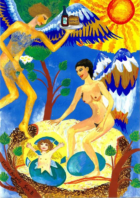 Sue Burgess Print featuring the painting Feral Angels by Sushila Burgess