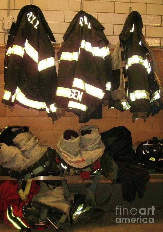 Firefighter Art Print featuring the photograph Firefighter Gear by Maria Scarfone