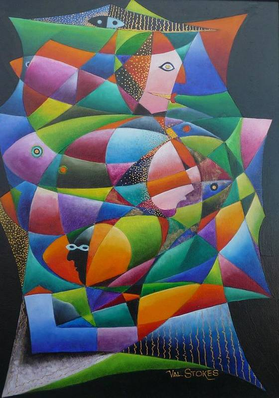 Faces Art Print featuring the painting Fishes And Faces by Val Stokes