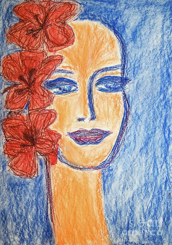 Portrait Art Print featuring the painting Flamenco Nights - Alicia by Lara Azurra