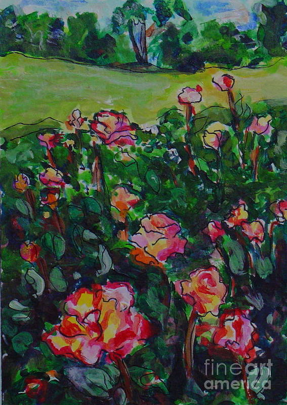 Flowers Landscape Illustration Original Artwork Leilaatknson Art Print featuring the painting Flower Field by Leila Atkinson