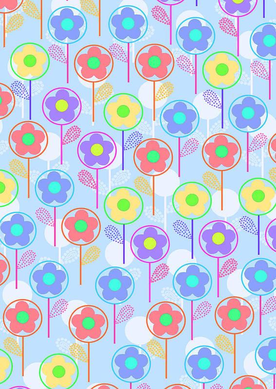 Digital Print featuring the digital art Flowers by Louisa Knight