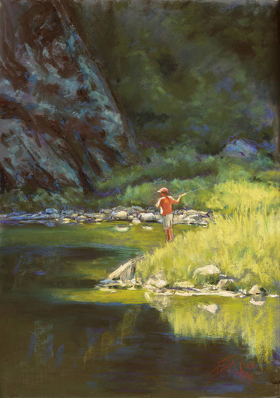 Fly Fisherman Art Print featuring the painting Fly Fishing by Billie Colson