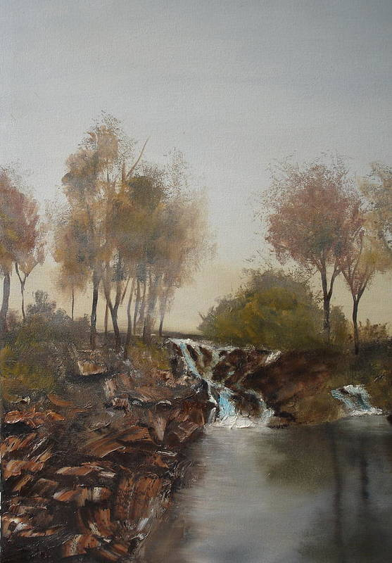 Landscape Art Print featuring the painting Foggy Creek by James Eugene Moore