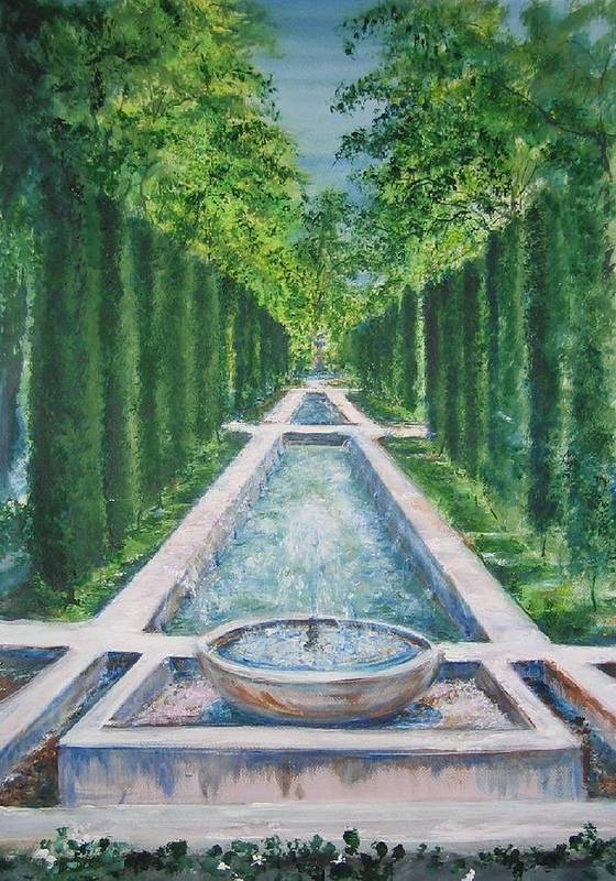 Fountain Art Print featuring the painting Fountain Palma De Mallorca Capital by Lizzy Forrester