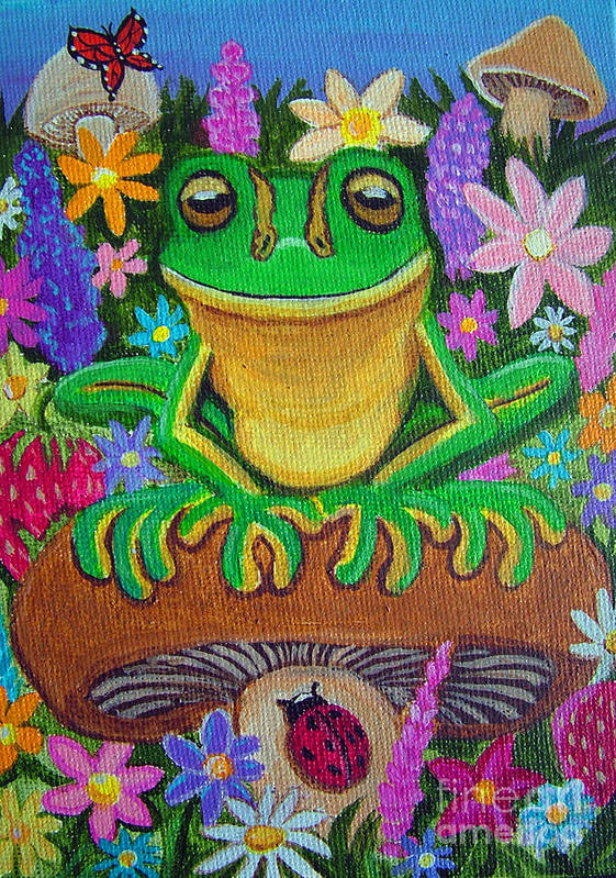 Frog Artwork Frog Painting Whimsical Artwork Green Frogs Art Print featuring the painting Frog On Mushroom by Nick Gustafson