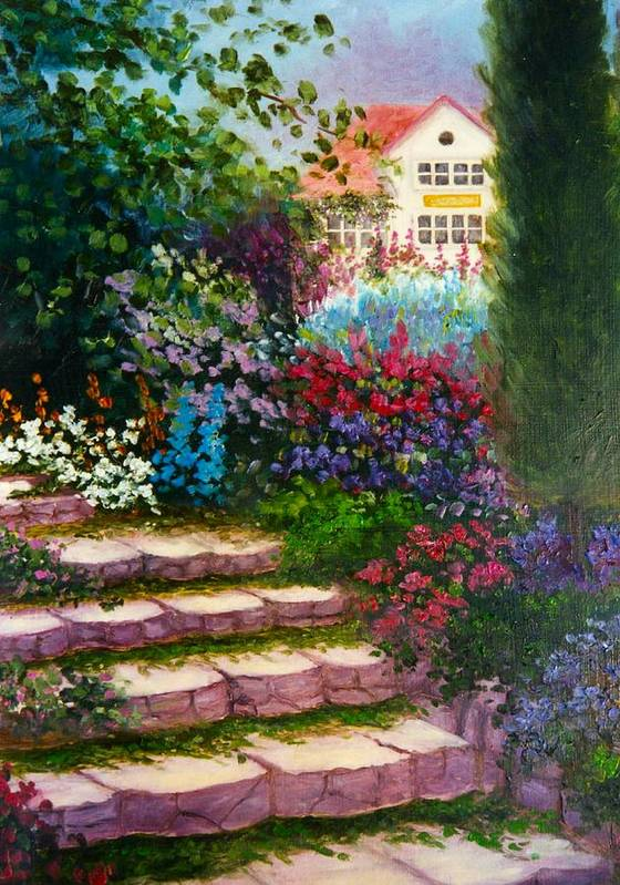 Cottage Art Print featuring the print Garden Steps by Jeanene Stein
