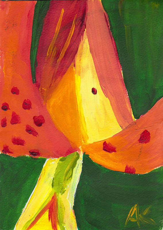 Painting Art Print featuring the painting Geo-lily by Amber Kalmar