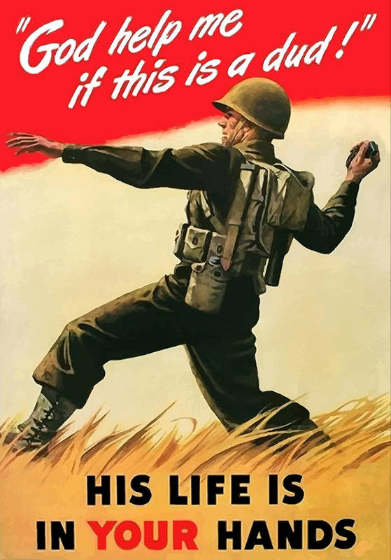 War Propaganda Art Print featuring the painting God Help Me If This Is A Dud by War Is Hell Store