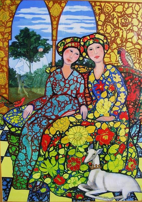 Golden Afternoon With Horseman Art Print featuring the painting Golden Afternoon Wth Horseman by Marilene Sawaf