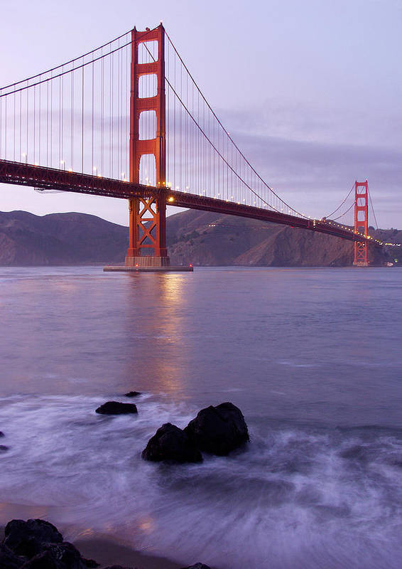Golden Gate Art Print featuring the photograph Golden Gate Bridge At Dusk by Mathew Lodge