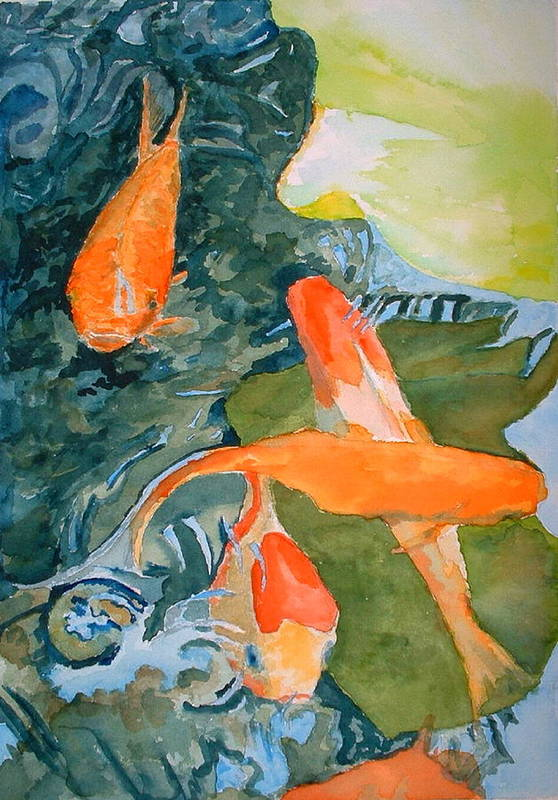 Goldfish Art Print featuring the painting Goldface - Watercolor by Donna Hanna