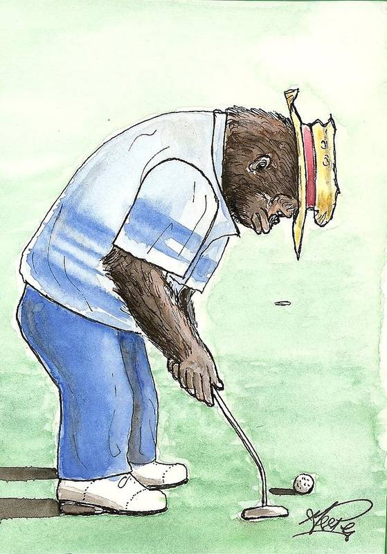 Golf Art Print featuring the painting Got You Now by George I Perez