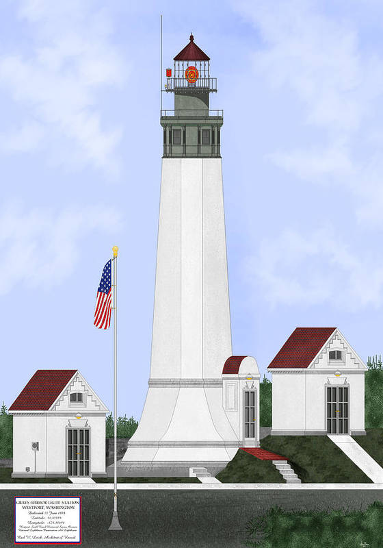 Lighthouse Art Print featuring the painting Grays Harbor Light Station Historic View by Anne Norskog