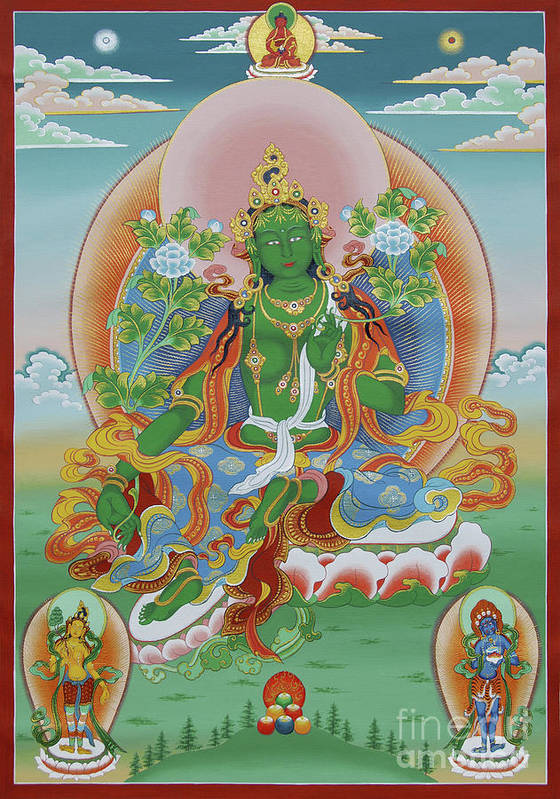 Green Tara 3: Green Tara With Retinue Art Print By Sergey Noskov