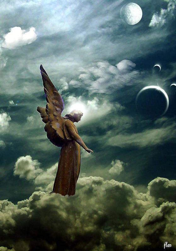 Sky Art Print featuring the digital art Guardian Angel by Ruben Flanagan