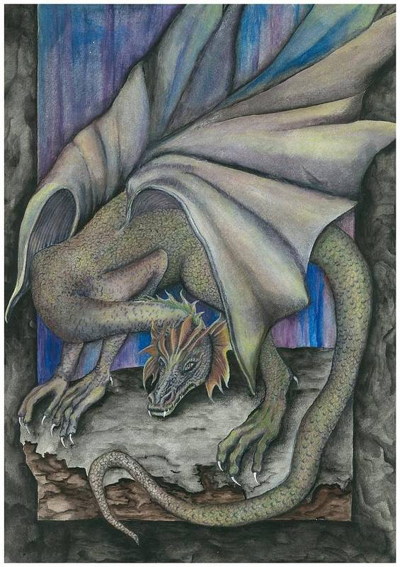 Dragon Art Print featuring the painting Guardian Dragon by Sally Balfany