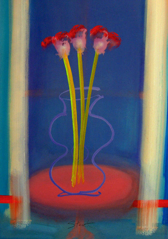 Guitar Art Print featuring the painting Guitar Vase by Charles Stuart