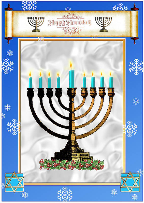 Hanukkah Art Print featuring the digital art Happy Hanukkah by Melissa A Benson