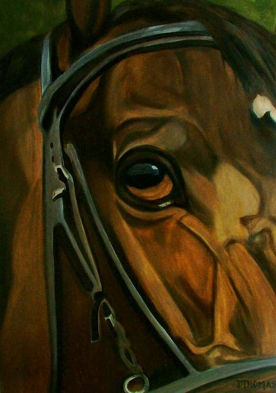 Horse Art Print featuring the painting Head Stall by Donna Thomas