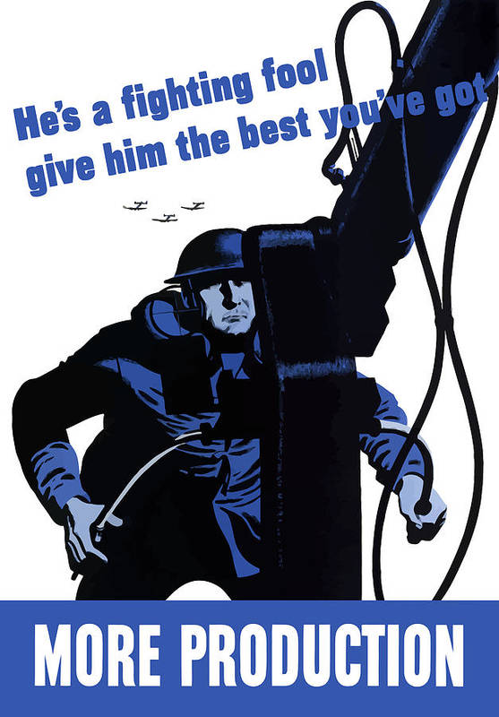 World War Ii Art Print featuring the painting He's A Fighting Fool - Give Him The Best You've Got by War Is Hell Store