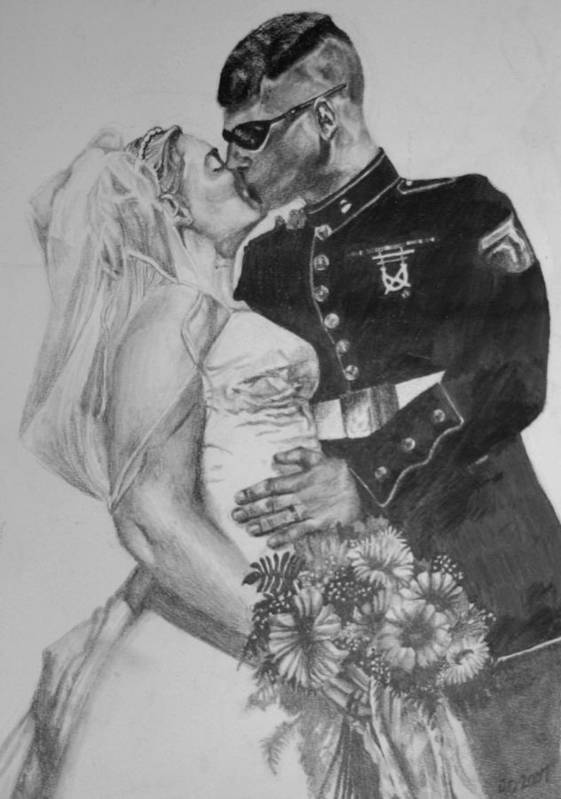 Military Art Print featuring the drawing His Hero At Home by Darcie Duranceau