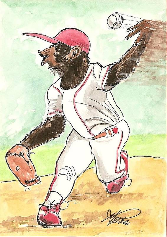 Baseball Art Print featuring the drawing Hit This by George I Perez