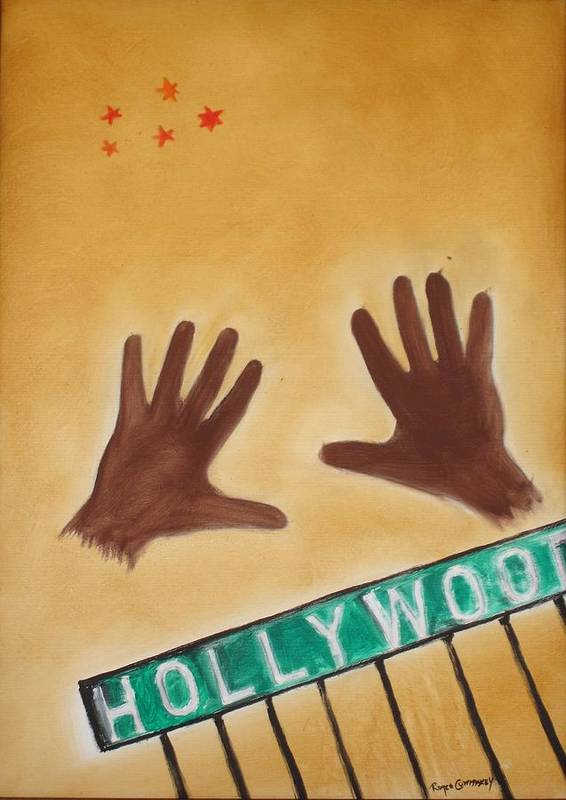 Cinema Film Art Print featuring the painting Hollywood by Roger Cummiskey