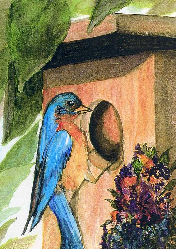 Bluebirds Art Print featuring the painting Home Sweet Home by Gail Kirtz