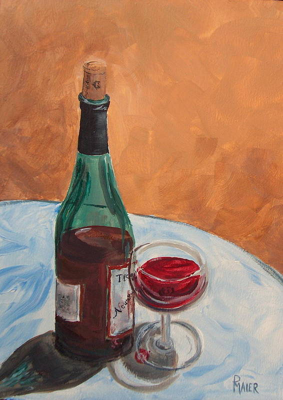 Still Life Art Print featuring the painting I Drink Alone by Pete Maier