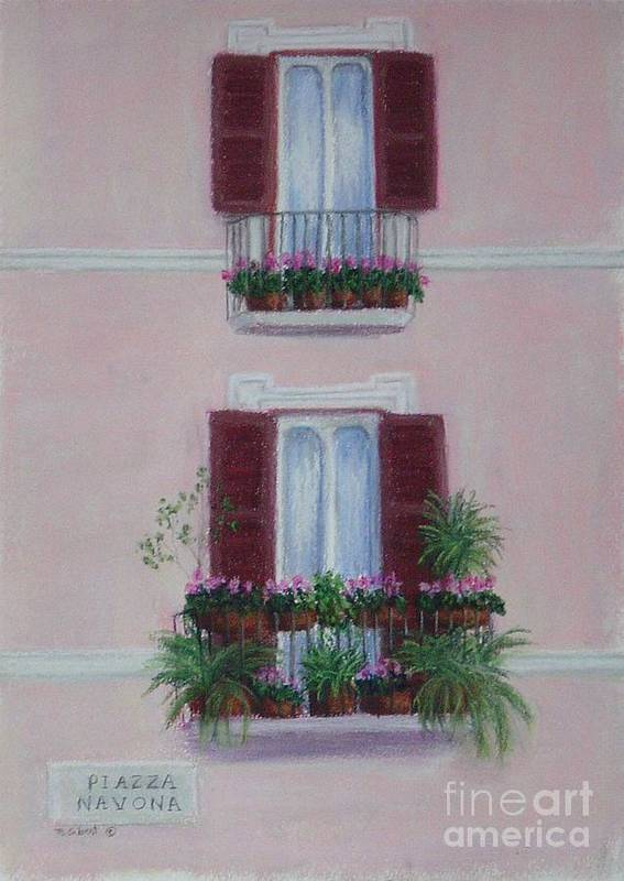 Window Boxes Art Print featuring the painting Il Terrazo In Roma Piazza Navona by Mary Erbert