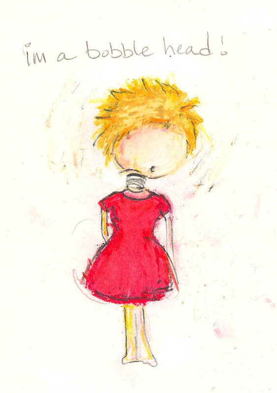 Girl Art Print featuring the drawing Im A Bobble Head by Ricky Sencion
