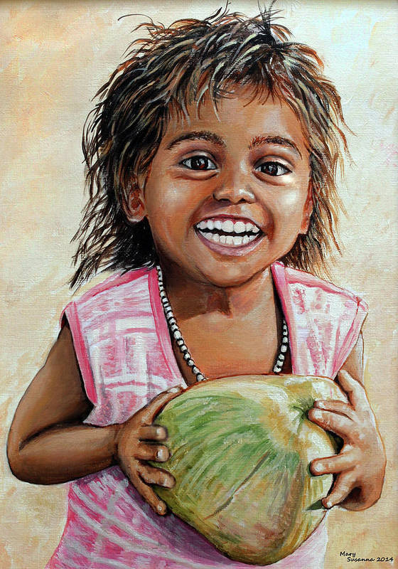 Indian Art Print featuring the painting Indian Girl From The Slums by Mary Susanna Turcotte