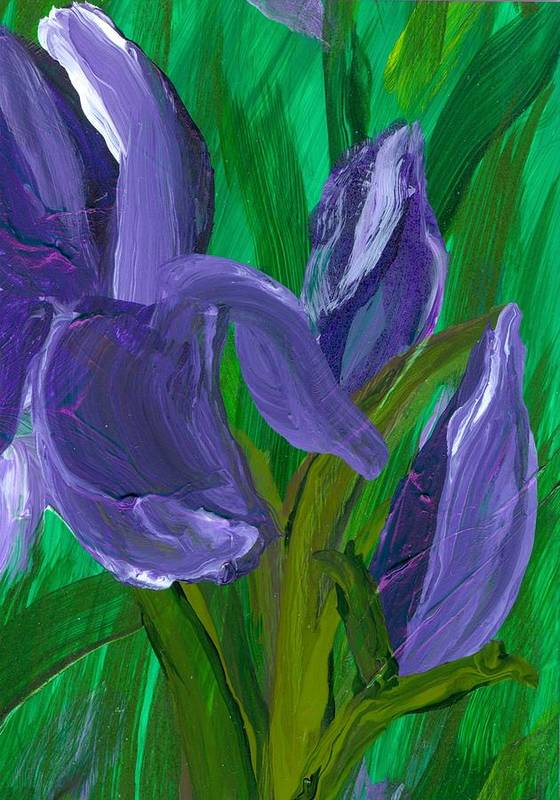 Iris Art Print featuring the painting Iris Up Close And Personal by Wanda Pepin