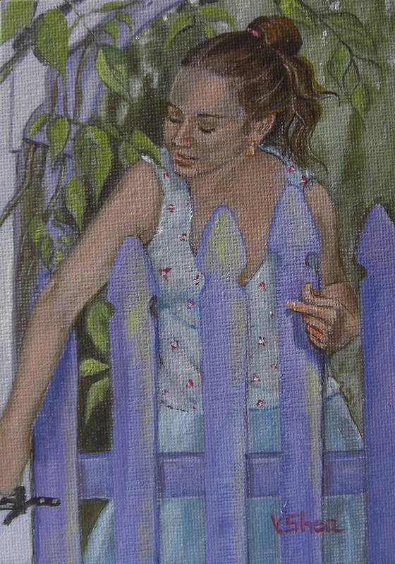 Portrait Art Print featuring the painting Isabel At The Gate by Victoria Shea