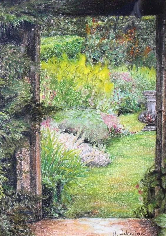 Landscape Art Print featuring the drawing Jardin by Muriel Dolemieux