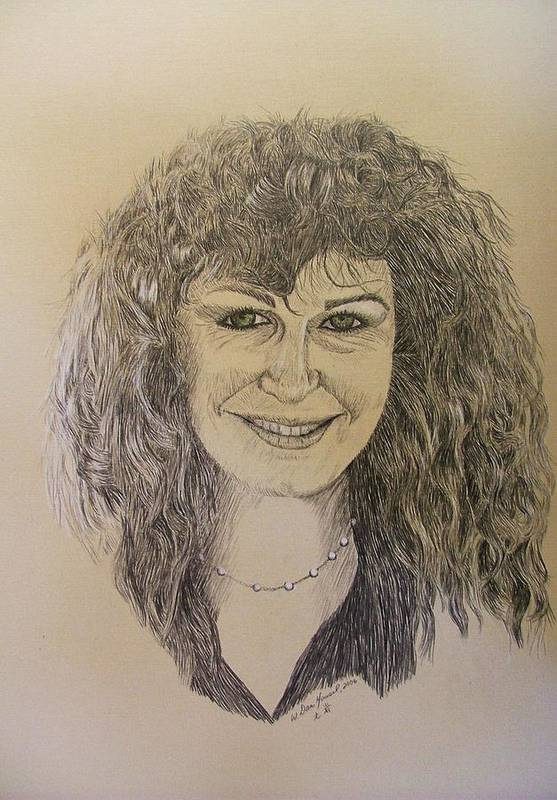 Woman Art Print featuring the drawing Jewell by Dan Hausel